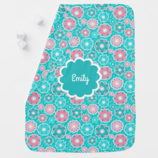 Personalised pink and aqua baby girl baby blanket