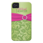 Personalised Pink and Green Damask iPhone 4 Case-Mate Case