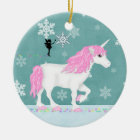 Personalised Pink and White Unicorn and Fairy Ceramic Ornament