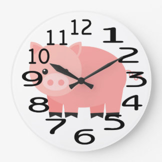 Personalised Pink Baby Pig  Wall Clock