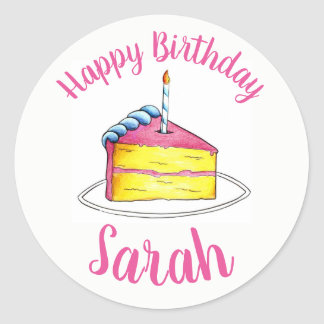 Personalised Pink Birthday Party Cake Slice Candle Classic Round Sticker