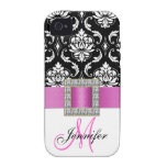 Personalised Pink Black Damask iPhone 4 Case