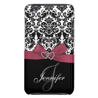 Personalised Pink, Black Ornate Damask Case Case-Mate iPod Touch Case