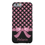 Personalised Pink Black Polka Dot Ribbon Bow Barely There iPhone 6 Case