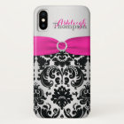 Personalised Pink, Black, Silver Damask iPhone X iPhone X Case