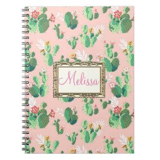 Personalised Pink Cactus Blooms Notebook