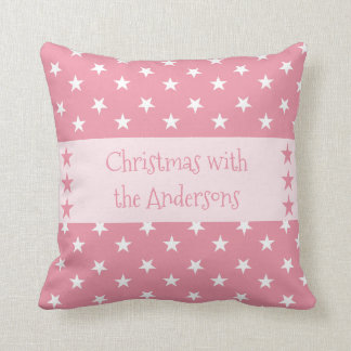 Personalised pink Christmas stars Throw Pillow