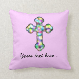 Personalised Pink Cross Throw Pillow