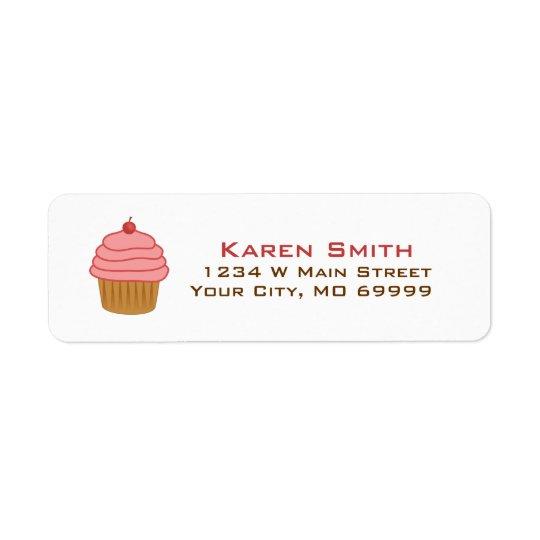 Personalised Pink Cupcake Return Address Label