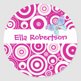 Personalised Pink Dot Name Label Round Sticker