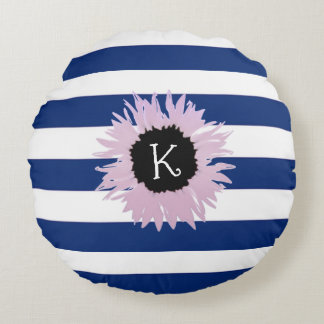Personalised Pink Flower Round Cushion