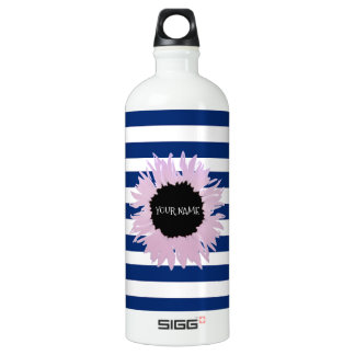 Personalised Pink Flower Water Bottle