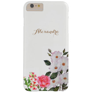 Personalised Pink Flowers Floral Art Barely There iPhone 6 Plus Case