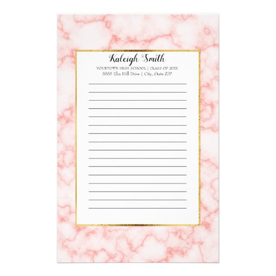 Personalised Pink Marble Graduation Year School Stationery