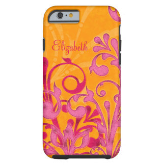 Personalised Pink Orange Floral iPhone 6 case Vibe Tough iPhone 6 Case