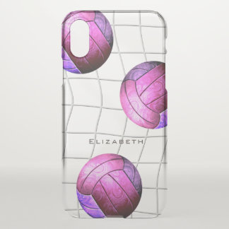 personalised pink purple women's volleyball iPhone x case