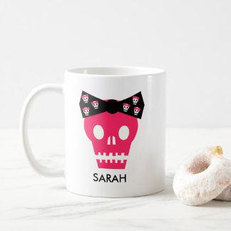Personalised Pink Skull Punk Rock Coffee Mug