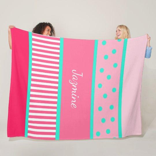 Personalised Pink Teal Polka Dots Stripes Blanket
