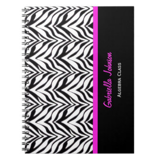 Personalised: Pink Trimmed: Zebra Print Notebook