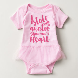 Personalised Pink Tutu Stole My Aunties Heart Baby Bodysuit