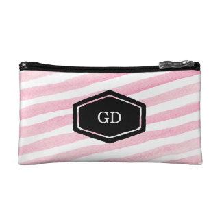 Personalised pink watercolor stripe cosmetics case