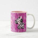 Personalised Pink Zebras & Animal Print Mug