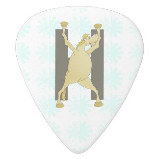 Personalised Pony Monogram H White Delrin Guitar Pick