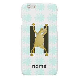 Personalised Pony Monogram H Glossy iPhone 6 Case