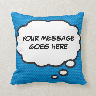 Personalised Pop Art Comic Book Pink Though Bubble Cushion