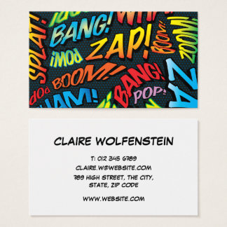 Personalised Pop Art Comic Book Sounds Business Card