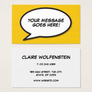 Personalised Pop Art Comic Book Speech Bubble Business Card
