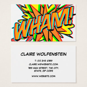 Comic books business cards business card printing zazzle personalised pop art comic book wham 3d business card colourmoves