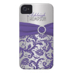 Personalised Purple and Silver Damask iPhone 4 Case-Mate Cases