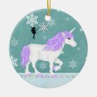 Personalised Purple and White Unicorn and Fairy Ceramic Ornament