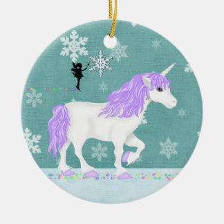 Personalised Purple and White Unicorn and Fairy Ceramic Ornament