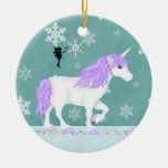 Personalised Purple and White Unicorn and Fairy Round Ceramic Decoration