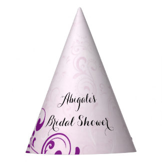 Personalised Purple Bridal Shower Party Hats