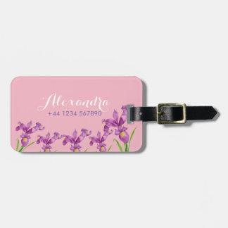 Personalised Purple Iris Luggage Tag