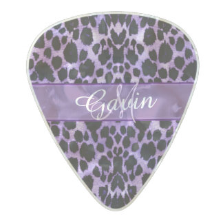 Personalised Purple Leopard Print Guitar Pick Pearl Celluloid Guitar Pick