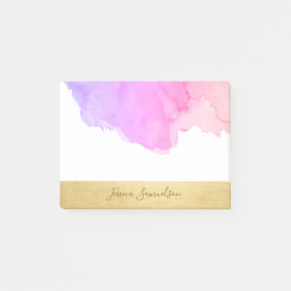 Personalised Purple Pink Watercolor Faux Gold Foil Post-it Notes