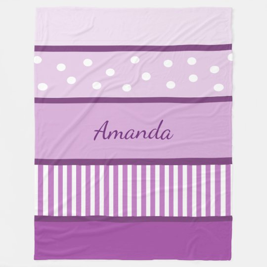 Personalised Purple Polka Dots and Stripes Blanket
