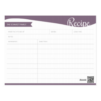 Personalised Purple & White Recipe Card