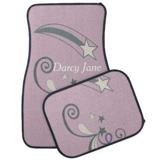 Personalised Purple White Shooting Stars Flourish Floor Mat