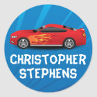 Personalised Race Car Flames Boy's School/Name Classic Round Sticker