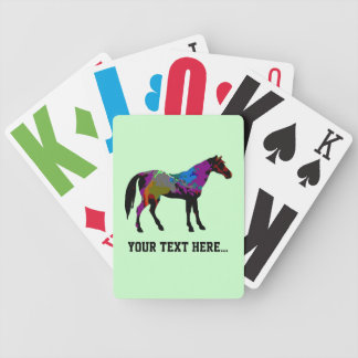 Personalised Race Horse Design On Mint Green Bicycle Playing Cards