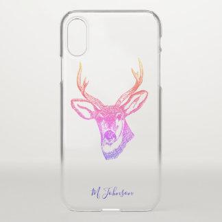 Personalised Rainbow Deer iPhone X Case