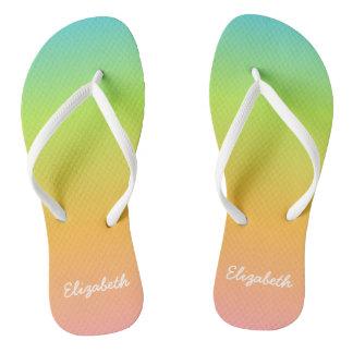 Personalised Rainbow Flip Flops
