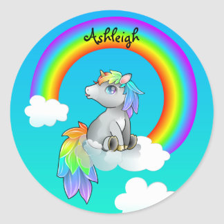 Personalised Rainbow Unicorn Customisable sticker