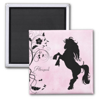 Personalised Rearing Horse and Flowers Magnet
