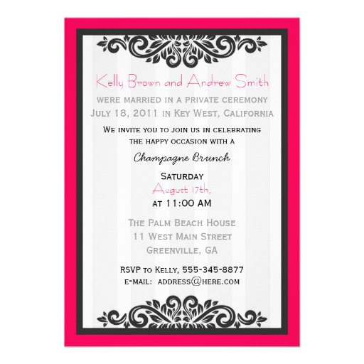 Personalised Reception Brunch Invite with RSVP